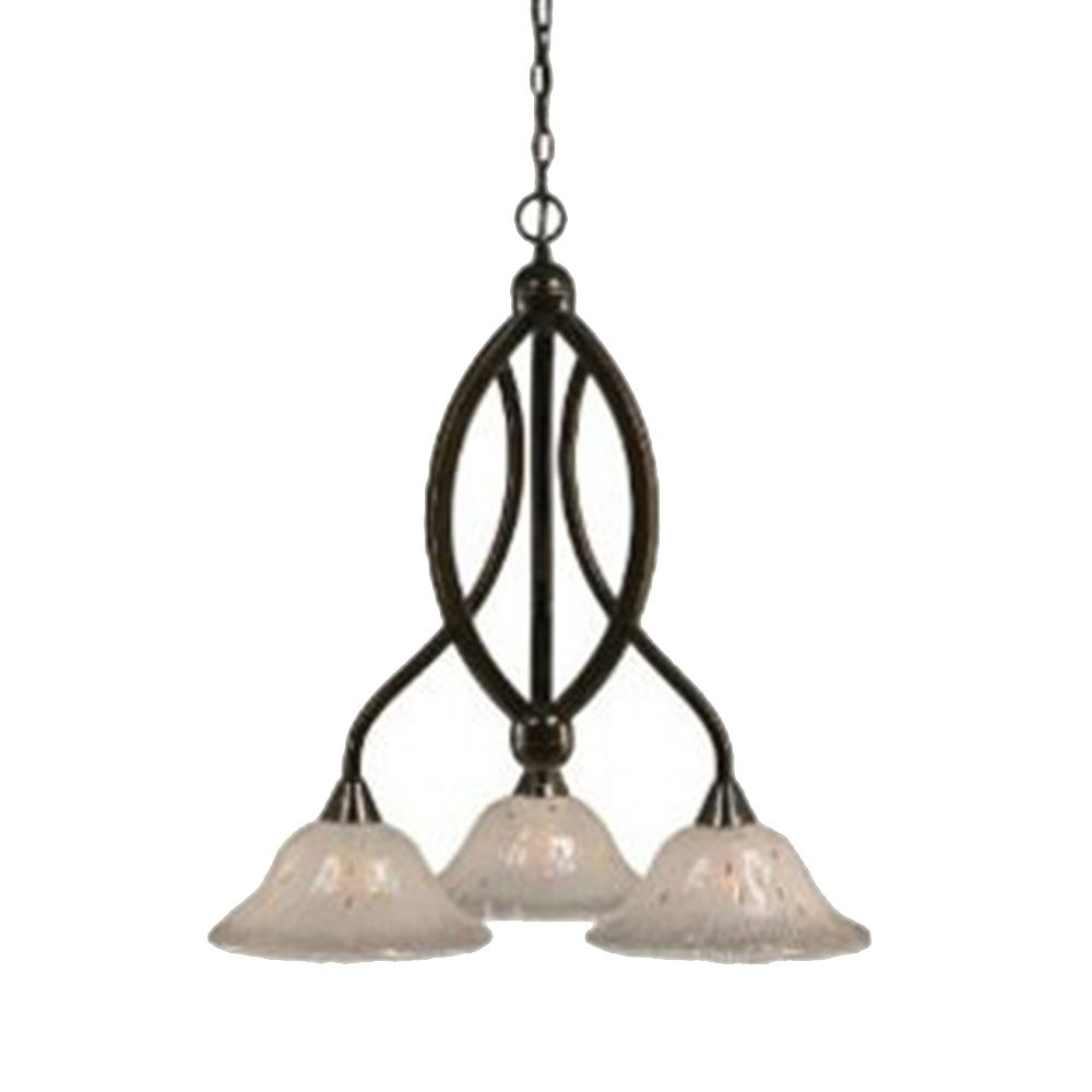 Filament Design Concord 3 Light Ceiling Onyx Incandescent Chandelier with a Frosted Crystal Glass