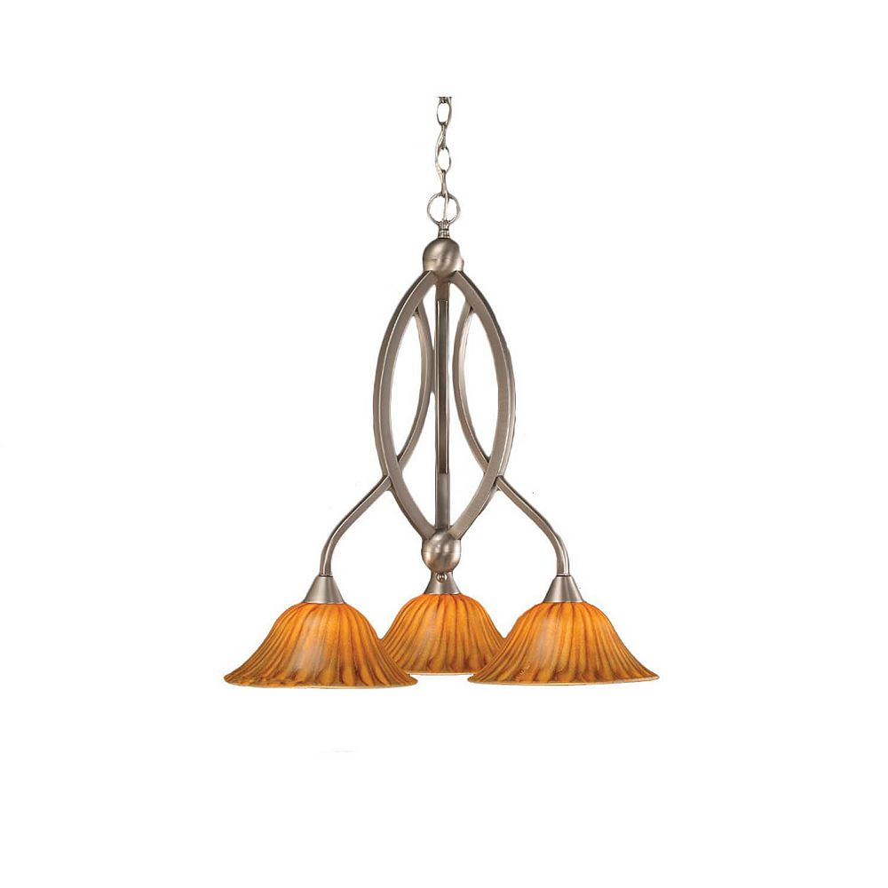 Filament Design Concord 3-Light Ceiling Brushed Nickel Chandelier with a Tiger Glass