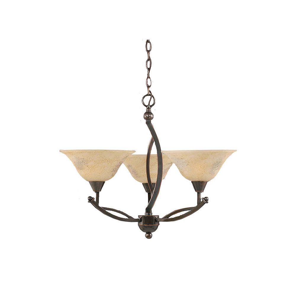 Filament Design Concord 3 Light Ceiling Black Copper Incandescent Chandelier with an Italian Marble Glass