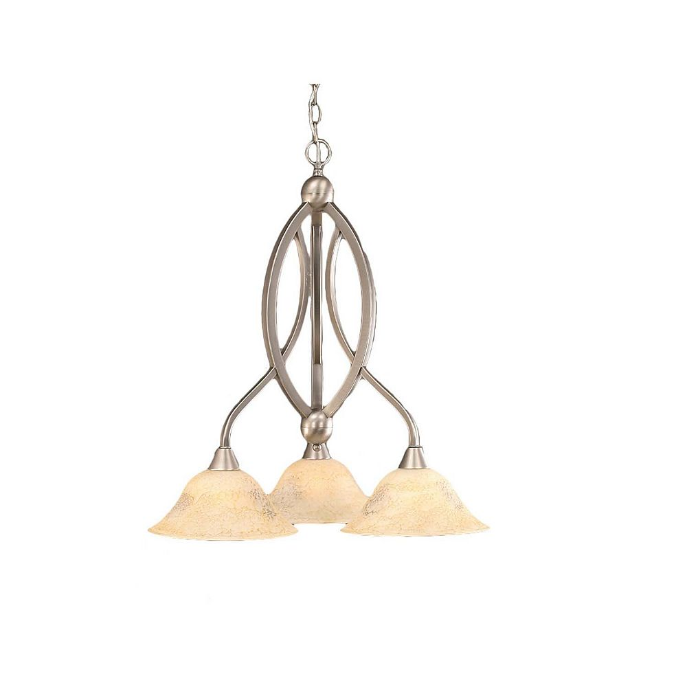 Filament Design Concord 3-Light Ceiling Brushed Nickel Chandelier with an Italian Marble Glass