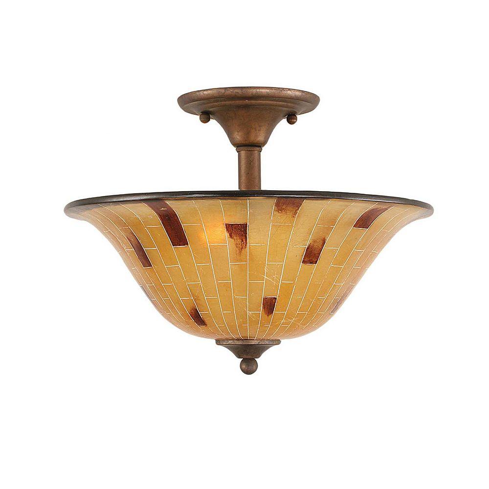 Filament Design Concord 2-Light Ceiling Bronze Semi Flush with a Penshell Resin Glass
