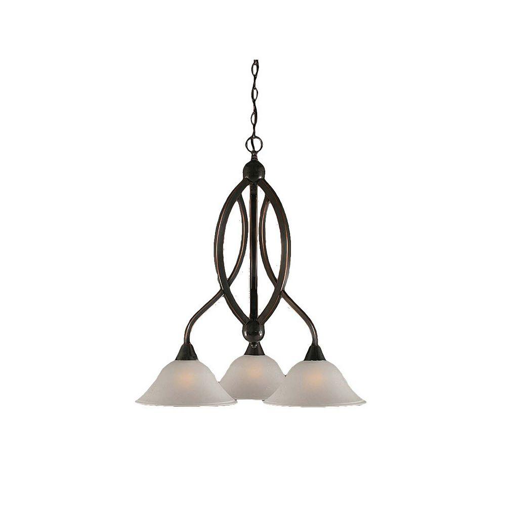 Filament Design Concord 3 Light Ceiling Black Copper Incandescent Chandelier with a Dew Drop Glass