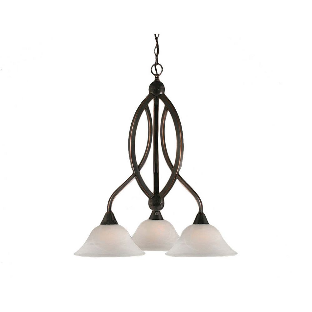 Filament Design Concord 3 Light Ceiling Black Copper Incandescent Chandelier with an Alabaster Glass