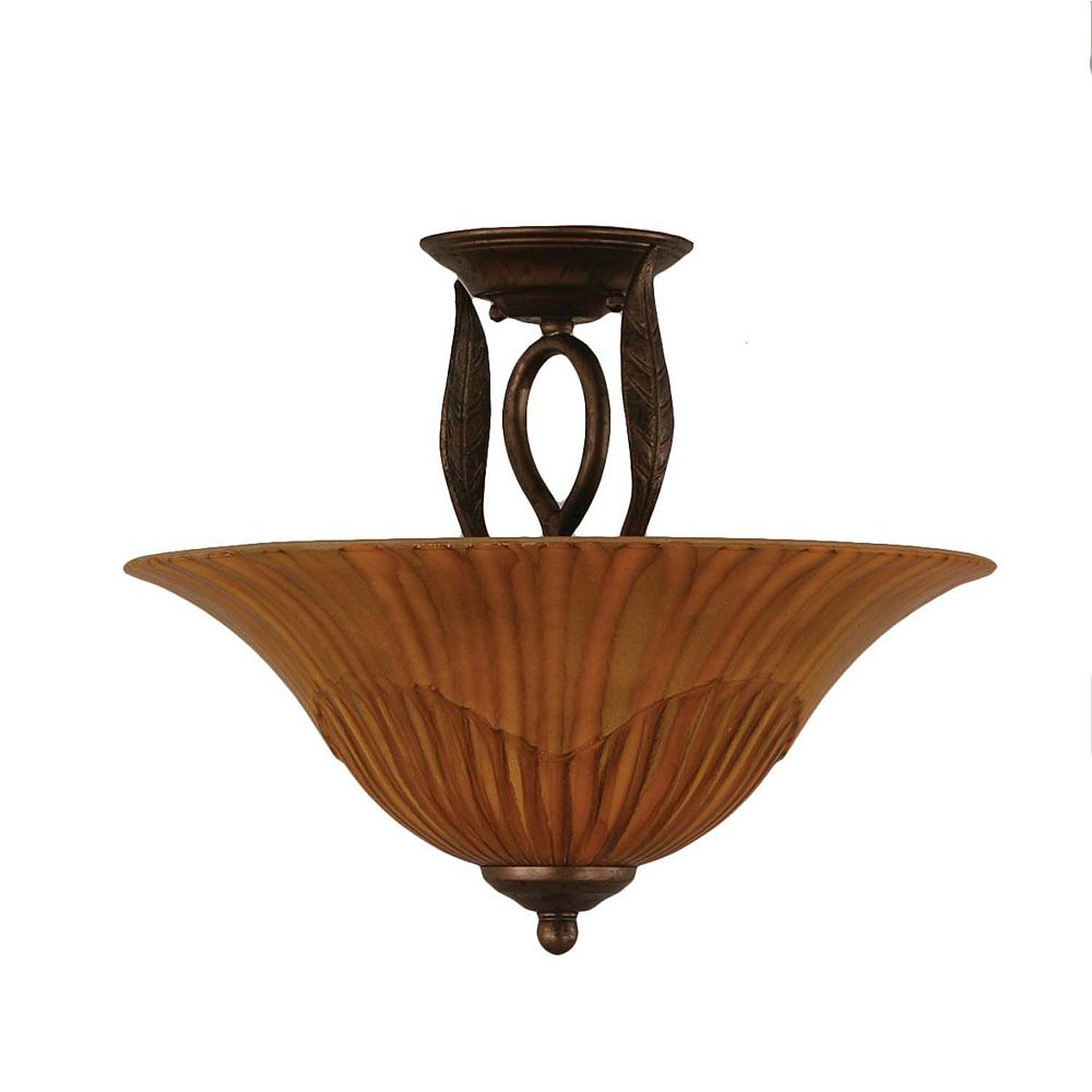 Filament Design Concord 3 Light Ceiling Bronze Incandescent Semi Flush with a Tiger Glass
