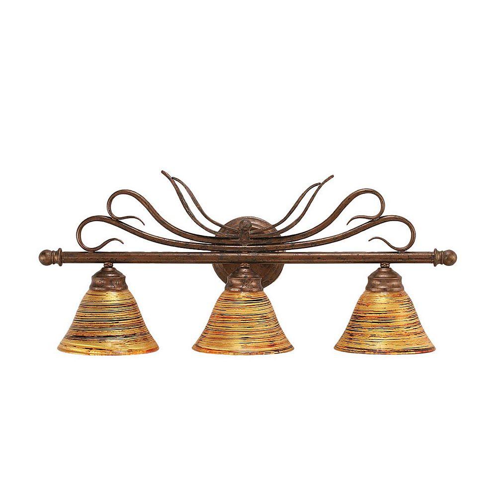 Filament Design Concord 3-Light Wall Bronze Bath Vanities with a Firré Saturn Glass