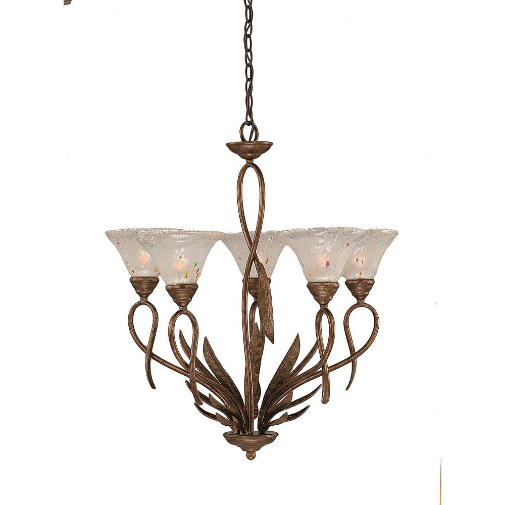 Filament Design Concord 5 Light Ceiling Bronze Incandescent Chandelier with a Frosted Crystal Glass