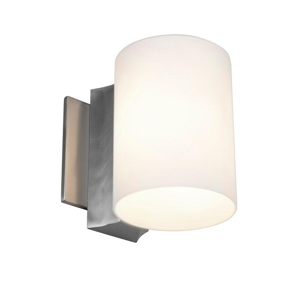 Filament Design Vista 1 Light Brushed SteelIncandescent Wall Sconce with OpalGlass