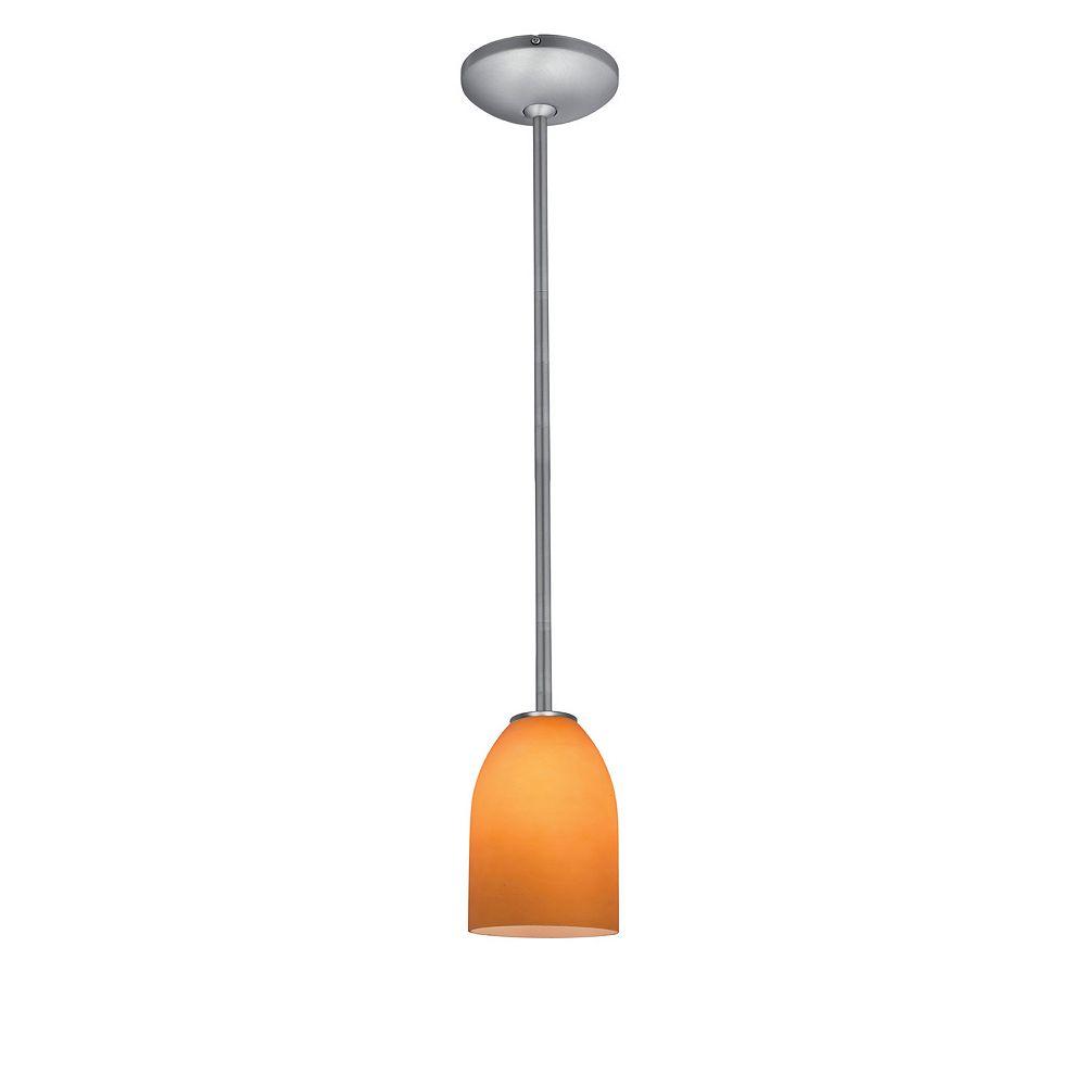 Filament Design Vista 1 Light Brushed Steel Incandescent Pendant with Amber Glass