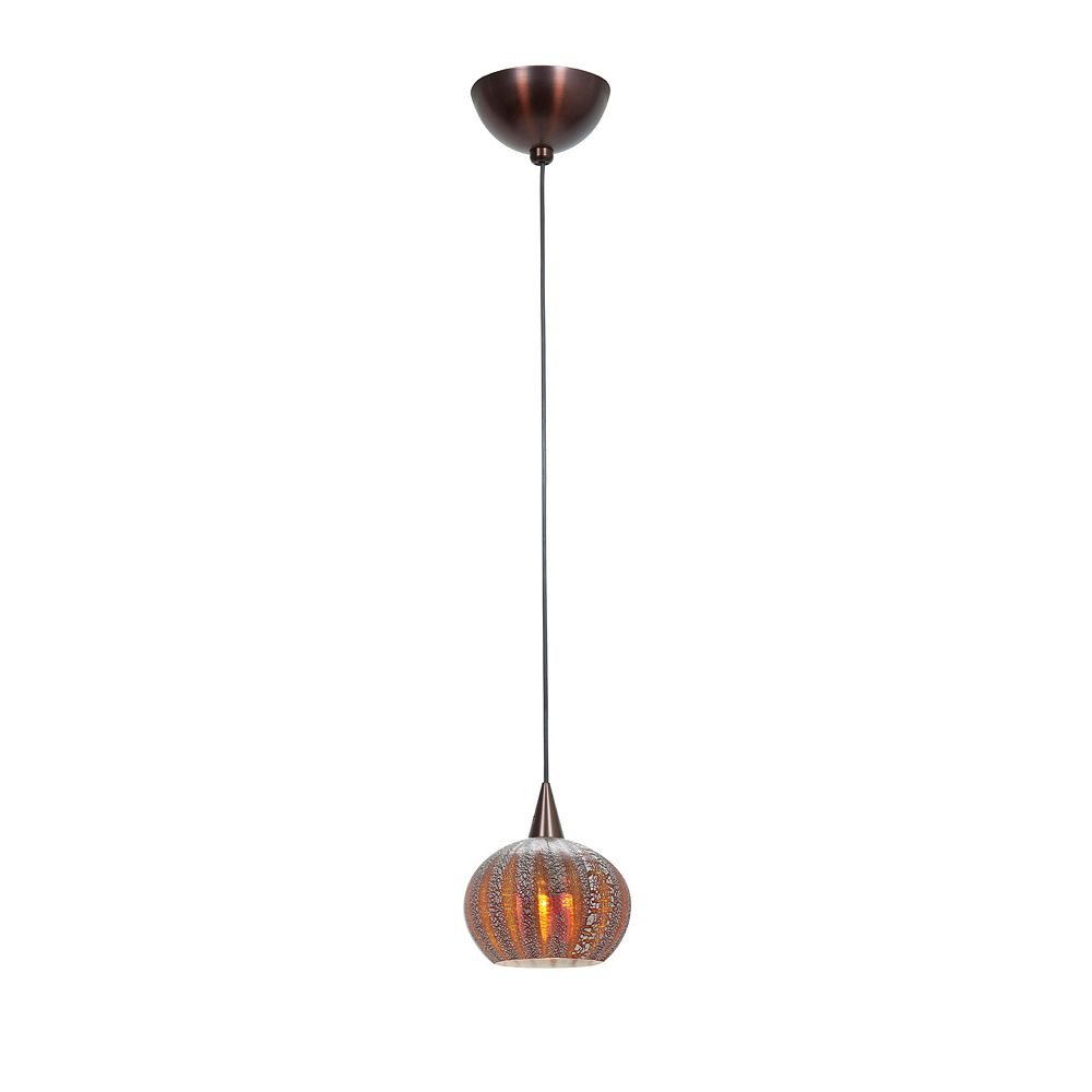 Filament Design Vista 1 Light Bronze Halogen Pendant with Silver Amber Ribbed Opaline Glass