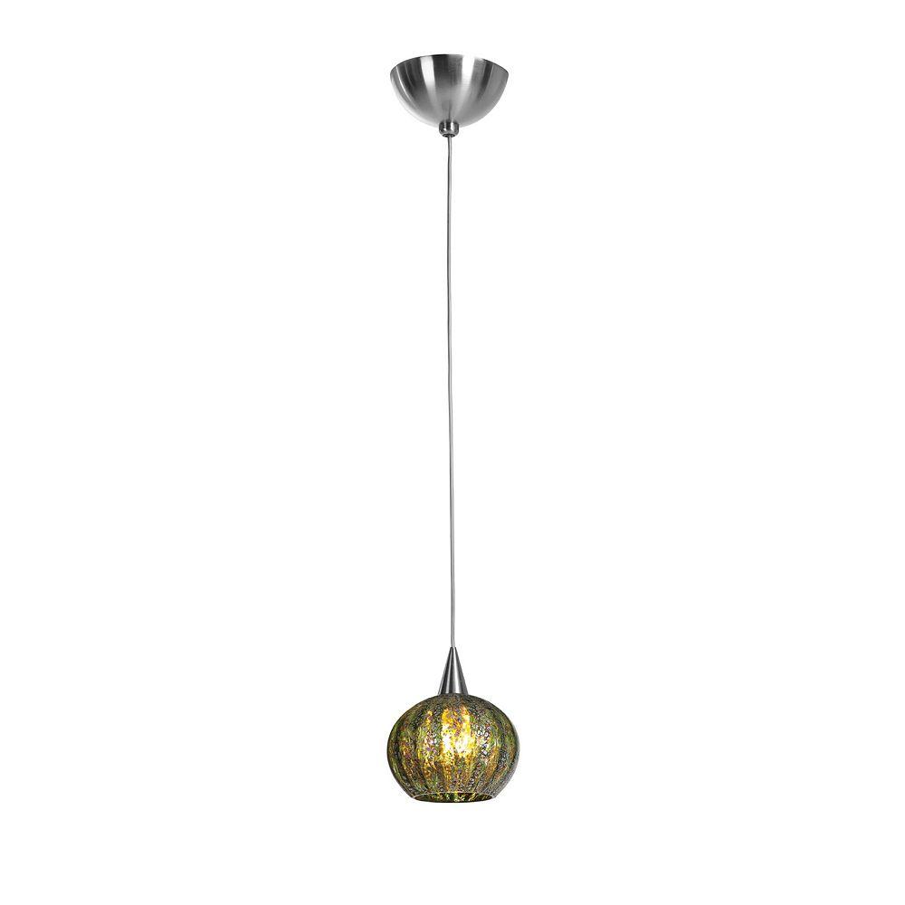 Filament Design Vista 1 Light Brushed Steel Halogen Pendant with Green Ribbed Opaline Glass