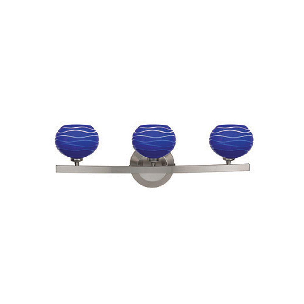 Filament Design Vista 3 Light ChromeHalogen Wall Sconce with Blue LinedGlass