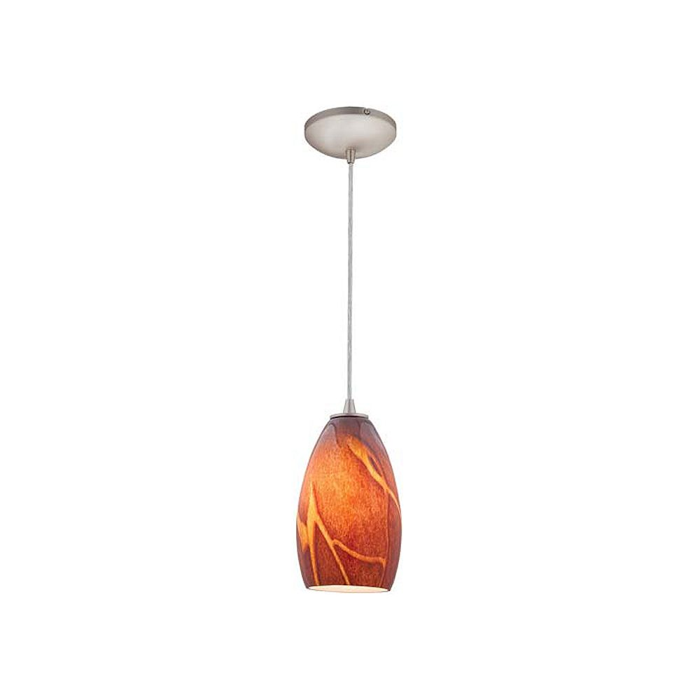 Filament Design Vista 1 Light Brushed Steel Incandescent Pendant with Inca Glass