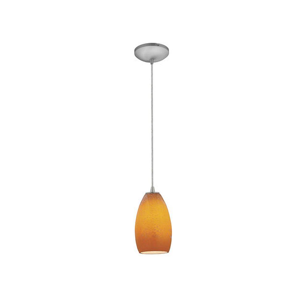 Filament Design Vista 1 Light Brushed Steel Incandescent Pendant with Maya Glass