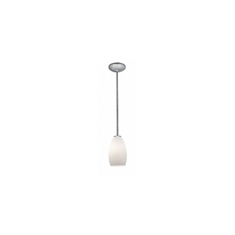 Filament Design Vista 1 Light Brushed Steel Incandescent Pendant with Opal Glass