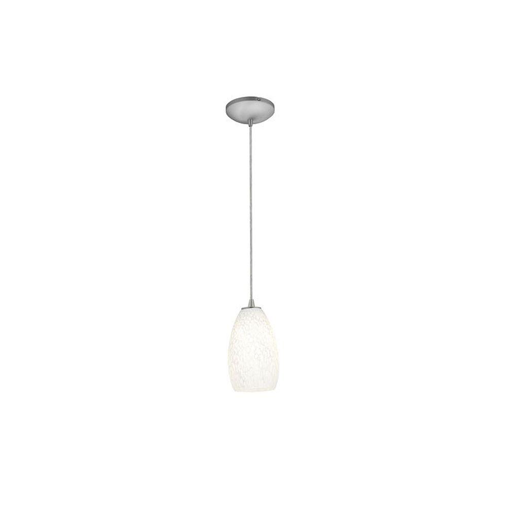 Filament Design Vista 1 Light Brushed Steel Incandescent Pendant with White Mist Glass
