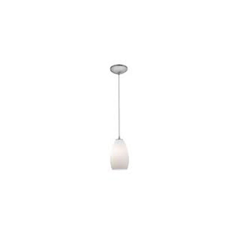 Filament Design Vista 1 Light Brushed Steel Incandescent Pendant with Plum Glass