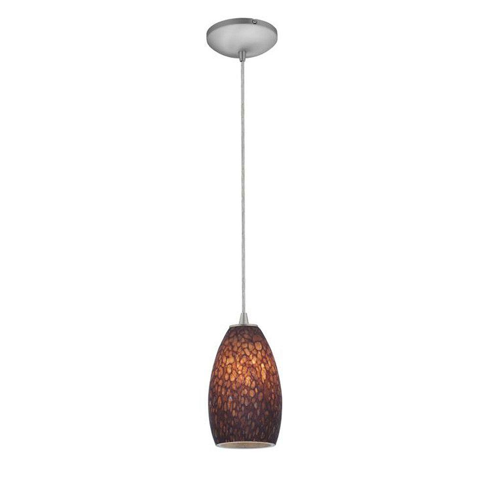 Filament Design Vista 1 Light Brushed Steel Incandescent Pendant with Brown Stone Glass