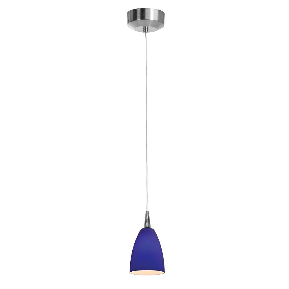 Filament Design Vista 1 Light Brushed Steel LED Pendant with Cobalt Blue Glass