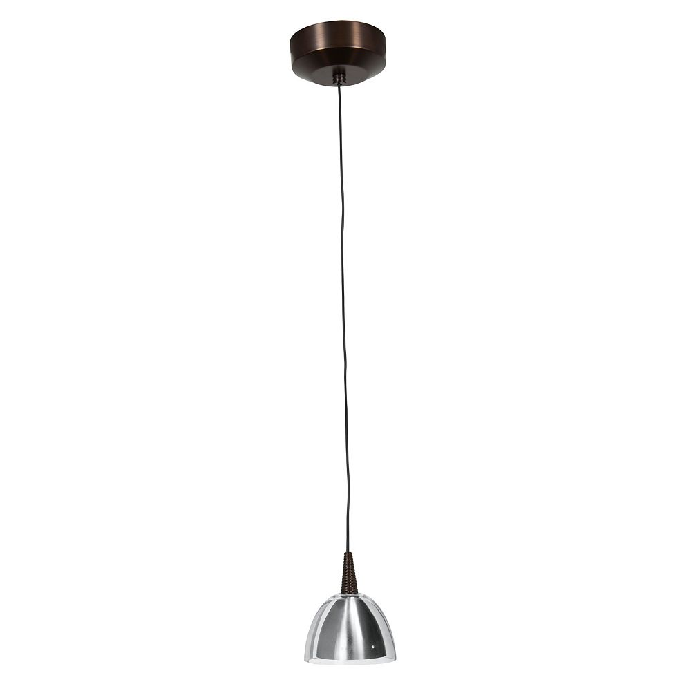 Filament Design Vista 1 Light Bronze LED Pendant with Brushed Steel Inner / Clear Outer Glass