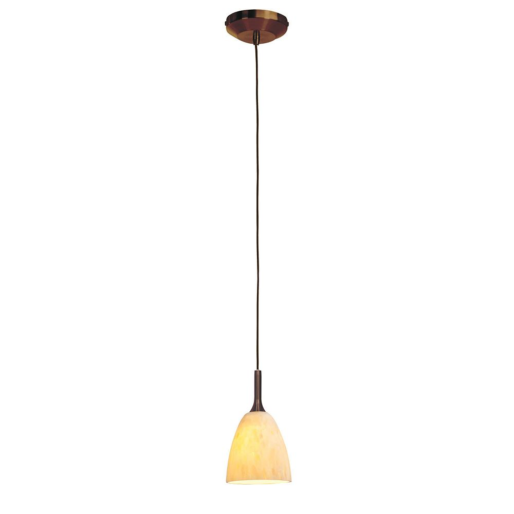 Filament Design Vista 1 Light Bronze Halogen Pendant with Amber Marble Glass