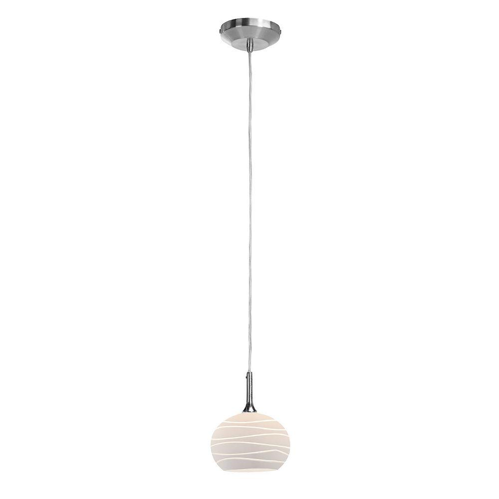 Filament Design Vista 1 Light Brushed Steel Halogen Pendant with White Lined Glass