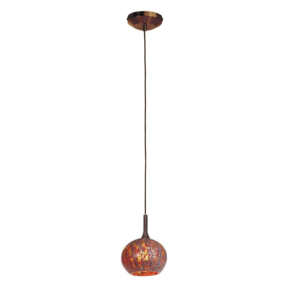 Filament Design Vista 1 Light Bronze Halogen Pendant with Red Ribbed Opaline Glass