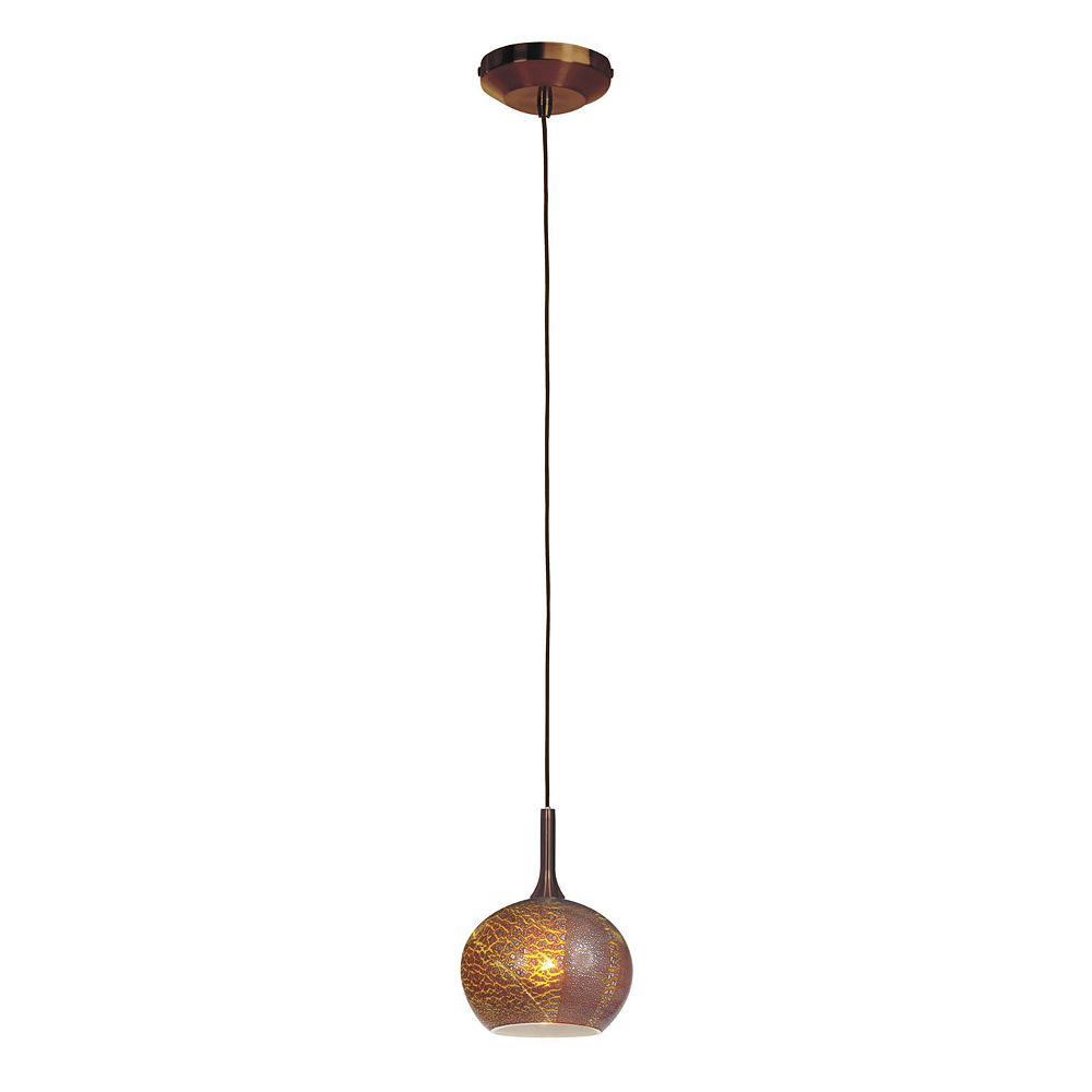 Filament Design Vista 1 Light Bronze Halogen Pendant with Silver Amber Opaline Glass