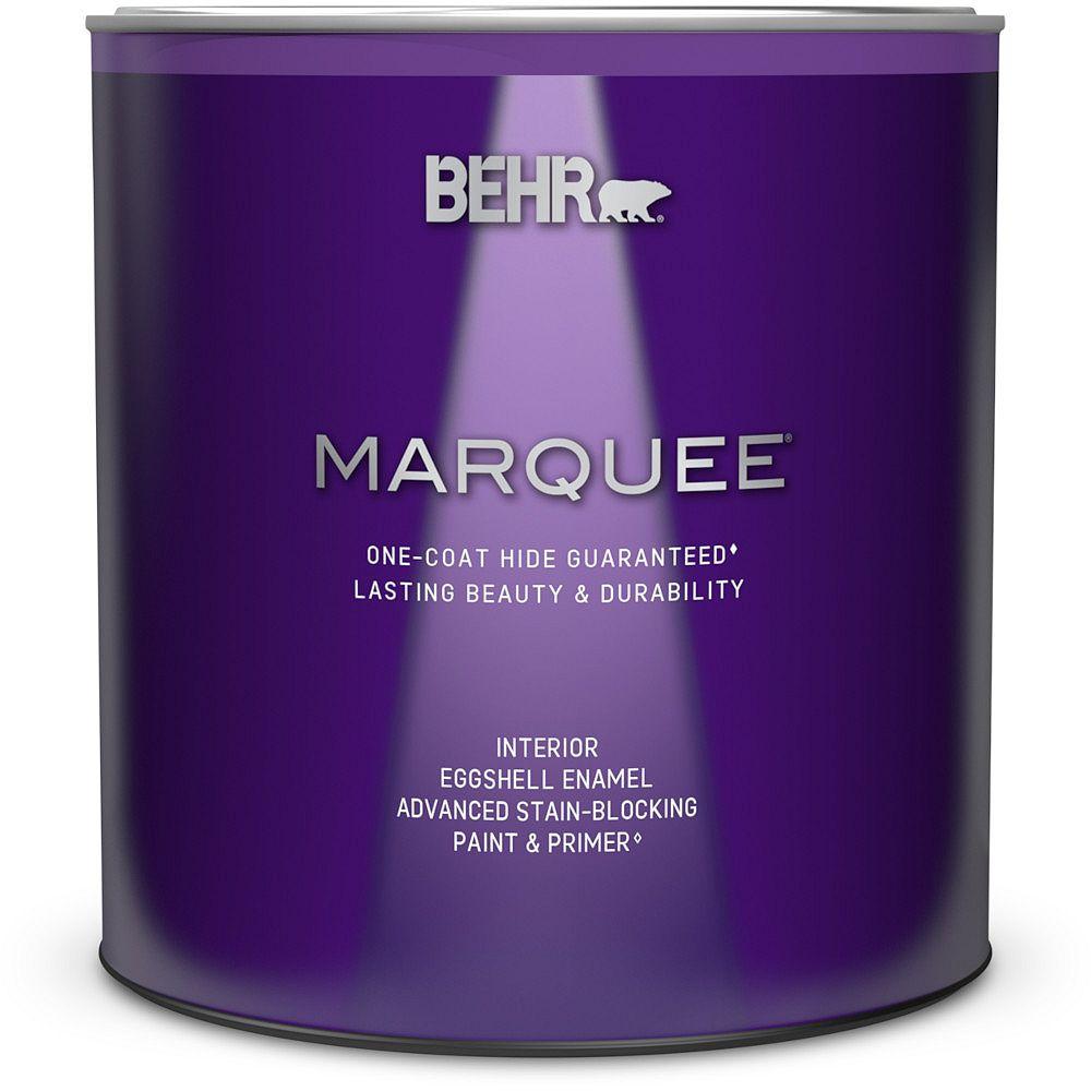 Behr Marquee Peinture et apprêt en un MarqueeMD dintérieur avec fini émail coquille duf blanc ultra pur (939 ml)