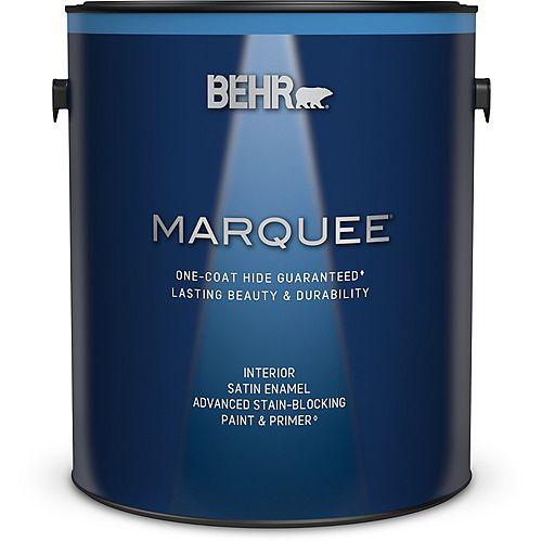 Interior Satin Enamel Paint & Primer - Ultra Pure White, 3.79L