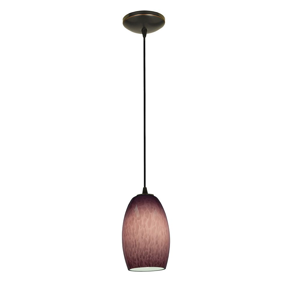 Filament Design Vista 1 Light Oil Rubbed Bronze Incandescent Pendant with Plum Cloud Glass