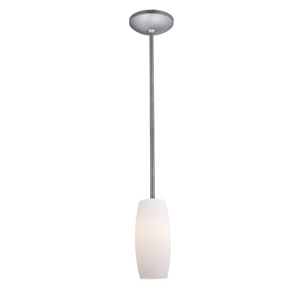 Filament Design Vista 1 Light Brushed Steel CFL Pendant with White Glass