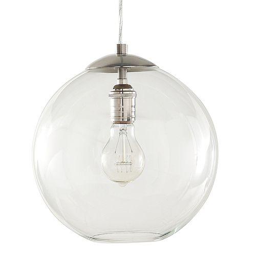 Luminaire suspendu, nickel brossé, une ampoule 60W, avec diffuseur en globe de verre