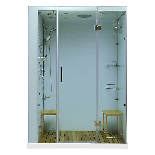 Modern, Stylish Steam and Shower Enclosure with Multi Body Message Water Jets, Radio and Aromatherapy (Left Hand Side)