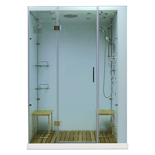 Modern, Stylish Steam and Shower Enclosure with Multi Body Message Water Jets, Radio and Aromatherapy (Right Hand Side)