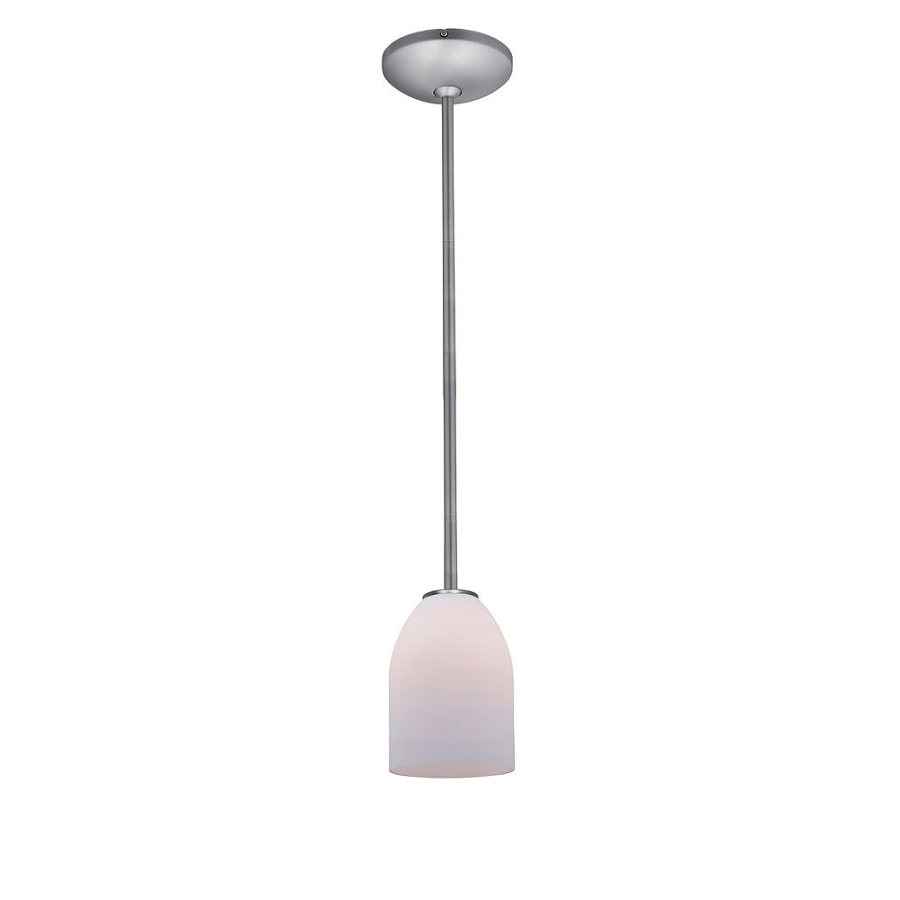 Filament Design Vista 1 Light Brushed Steel CFL Pendant with Opal Glass