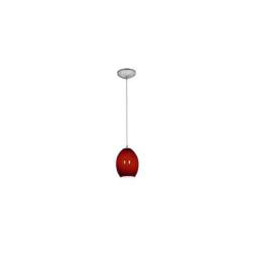 Filament Design Vista 1 Light Brushed Steel Incandescent Pendant with Red Fire Bird Glass