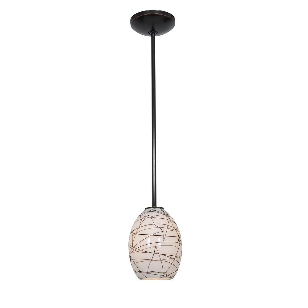 Filament Design Vista 1 Light Oil Rubbed Bronze Incandescent Pendant with Black White Glass