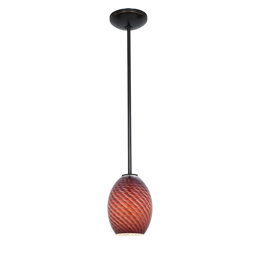 Filament Design Vista 1 Light Oil Rubbed Bronze Incandescent Pendant with Plum Fire Bird Glass