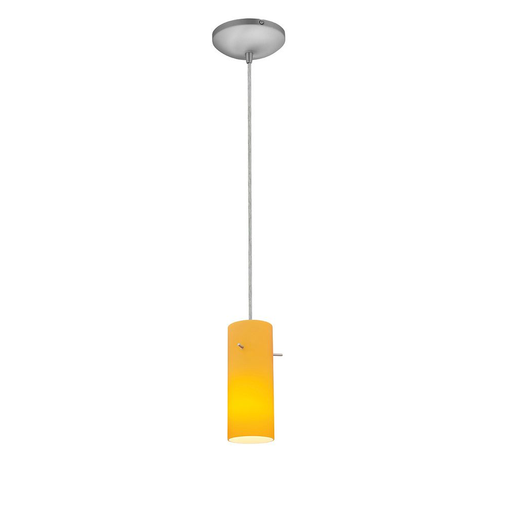 Filament Design Vista 1 Light Brushed Steel Incandescent Pendant with Amber Glass