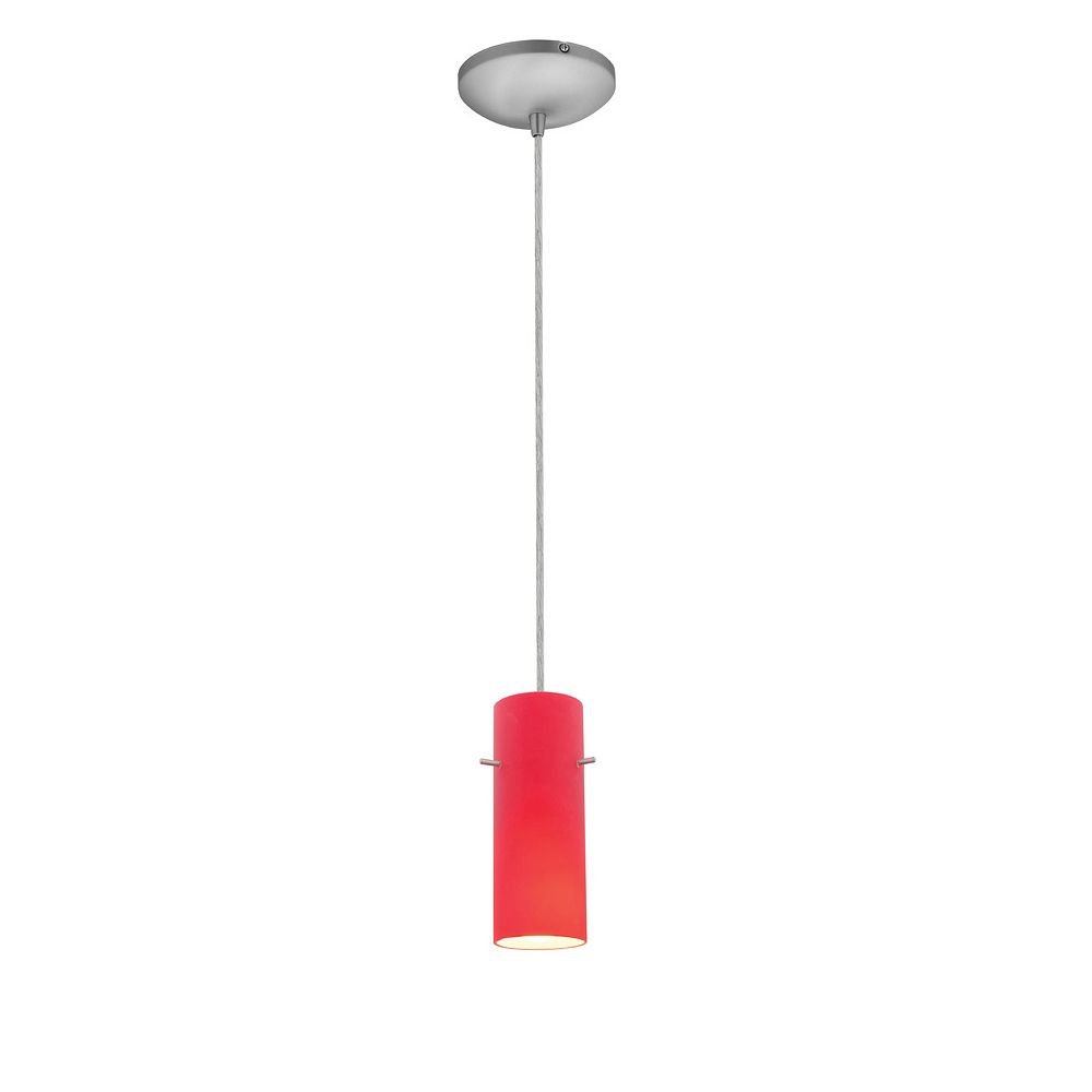 Filament Design Vista 1 Light Brushed Steel Incandescent Pendant with Red Glass