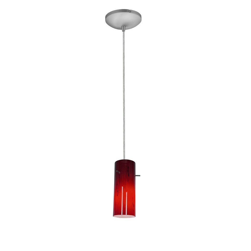 Filament Design Vista 1 Light Brushed Steel Incandescent Pendant with Ruby Sky Glass