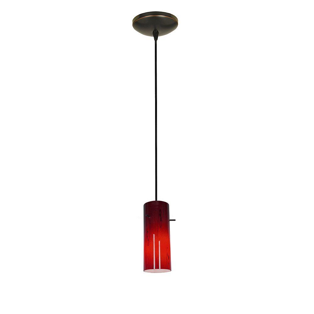 Filament Design Vista 1 Light Oil Rubbed Bronze Incandescent Pendant with Ruby Sky Glass