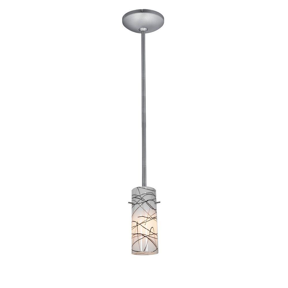 Filament Design Vista 1 Light Brushed Steel Incandescent Pendant with Black White Glass