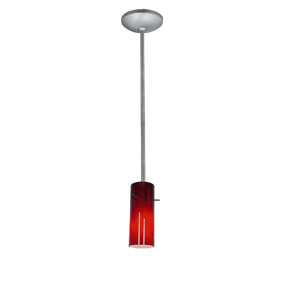Filament Design Vista 1 Light Brushed Steel Incandescent Pendant with Ruby Sky Glass