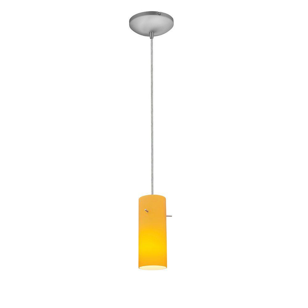 Filament Design Vista 1 Light Brushed Steel CFL Pendant with Amber Glass
