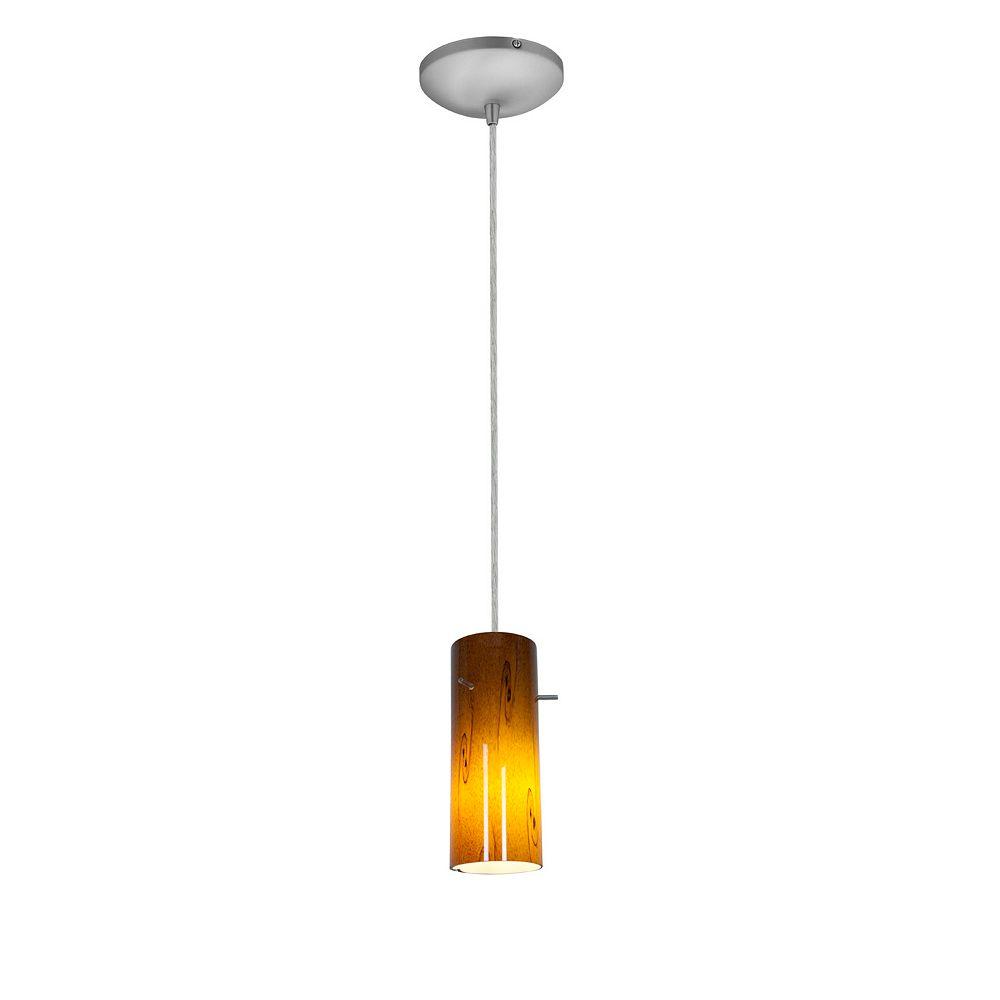 Filament Design Vista 1 Light Brushed Steel CFL Pendant with Amber Sky Glass