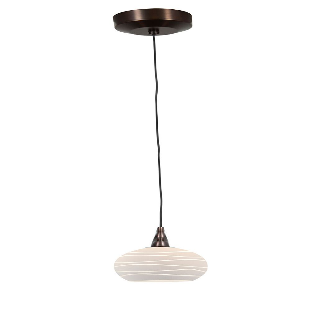 Filament Design Vista 1 Light Bronze Halogen Pendant with White Lined Glass