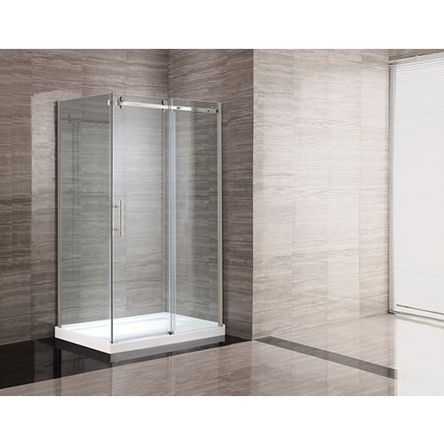 Kelsey 48-Inch  Shower Stall in White with Sliding Door