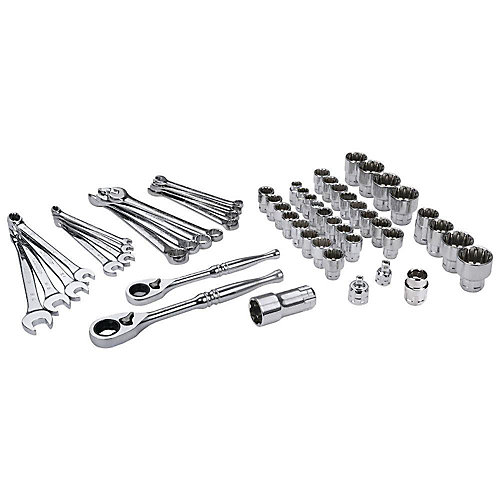3/8-inch and 1/2-inch Universal Pass-Thru Ratchet and Socket Set (54-Piece)
