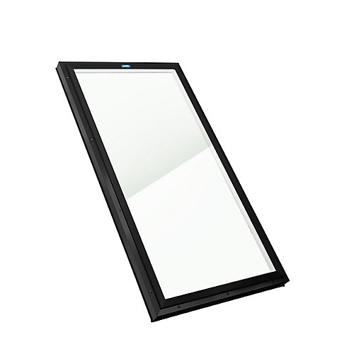 2ft 8in x 4ft Fixed Curb Mount LoE3 Triple Glazed Clear Glass Skylight with Black Frame